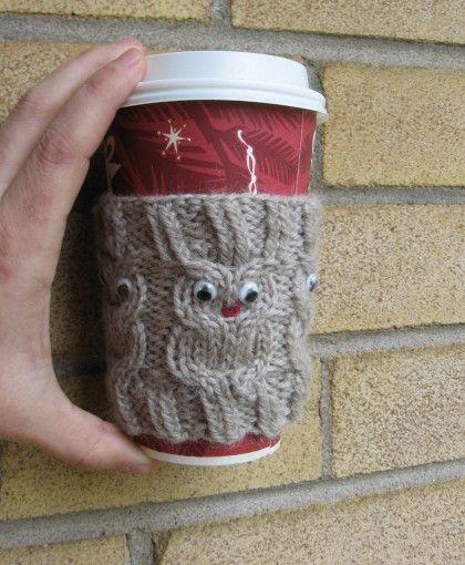 Owl Coffee Cozy FREE Knitting Pattern – Great Gift for Coffeee or Tea Drinker