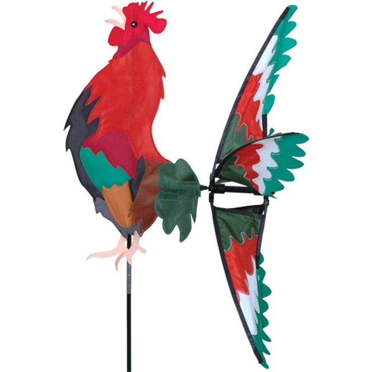 This Morning Rooster Spinner Is Just The Bird To Wake Up Your Garden.  Beautiful Plumage In Reds And Greens Add Delightful Color To Your ...