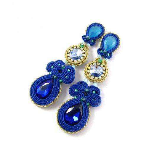 Cobalt blue - długie z kryształami