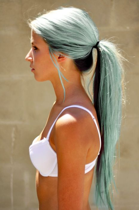 I know I'm too old to do stuff like this but it's freakin awesome!! Light blue hair with black undertone.