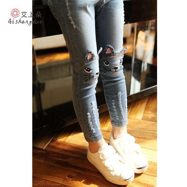 Корейский стиль девушки джинсы дети мультфильм Джокер тонкий подходит длинные брюки ноги брюки 2016 Хитц 0204