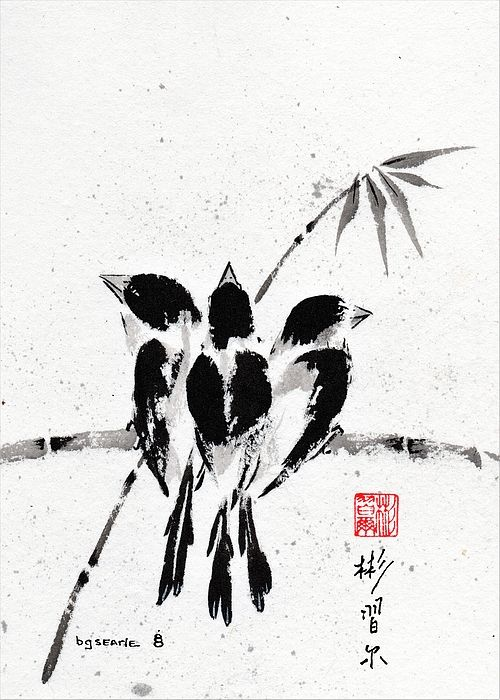 """Belonging"", Spontaneous (Xie Yi) style Chinese brush painting on rice paper by bgsearle."