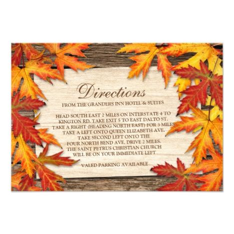 Fall Wedding Directions Cards Invitation Inserts #fallwedding #greetings