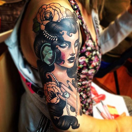done by emily rose murrayTattoo Ideas, Tattoo Sleeve, Emily Rose, Colors Tattoo, Tattoo Inspiration, Body Art, Gypsy Tattoo, Tattoo Ink, Rose Murray