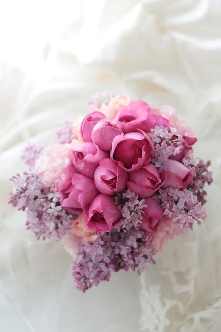 クラッチブーケ メゾン ポール・ボキューズ様へ フーシャピンクとライラック : 一会 ウエディングの花