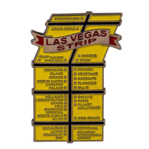 Metal Fridge Magnet: United States. Map of Las Vegas Strip (Nickel Plating and Enamel)