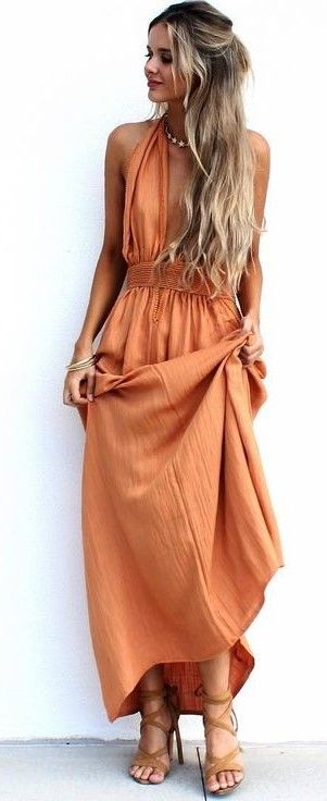 #summer #musthave #outfits | Lovely Orange Maxi Dress                                                                             Source