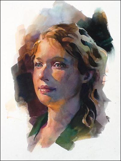 Stan Miller - woman watercolor portrait warm light
