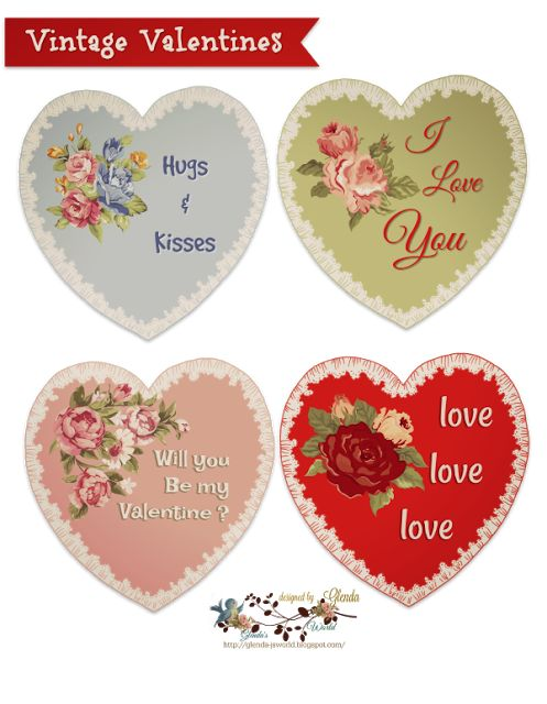 FREE from glenda's World : Vintage Valentines and Lined Envelopes