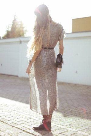 black bronx boots - silver Tara Jarmon dress - black jonathan ashton tights