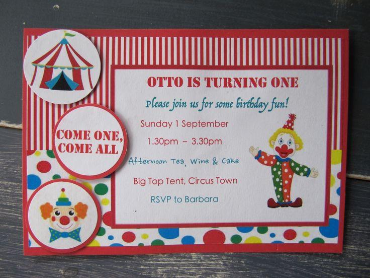 Handmade Boys Clown Party Invitation