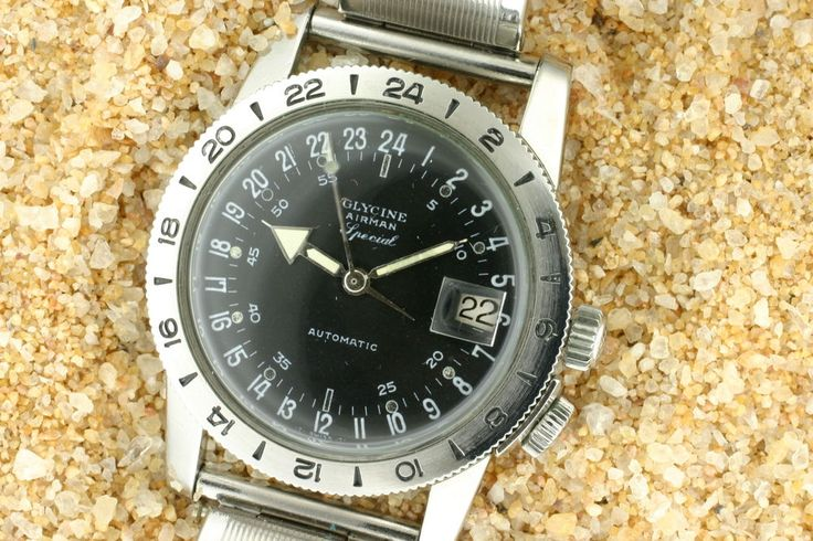 1965-68 Stainless Vintage Automatic 24hr Military dial Glycine Airman Special