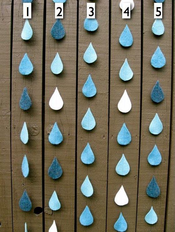 Reclaimed felt raindrops.