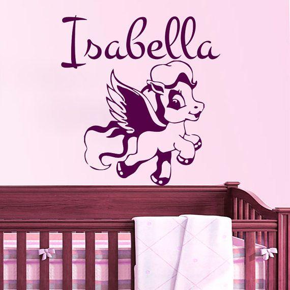 Decalcomanie da muro decalcomanie in vinile adesivo cavallo il nome per ragazza bambino bambini vivaio camera da letto camera Decor Home Sala giochi arte murales MN705