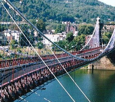 Wheeling Suspension Bridge - Wheeling, Virginia.  The oldest suspension bridge in America that supports automobile traffic.