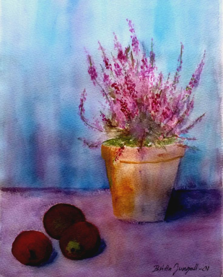 """Still life with heather and apples"" Original watercolor painting by Britta Bergström-Jungell."