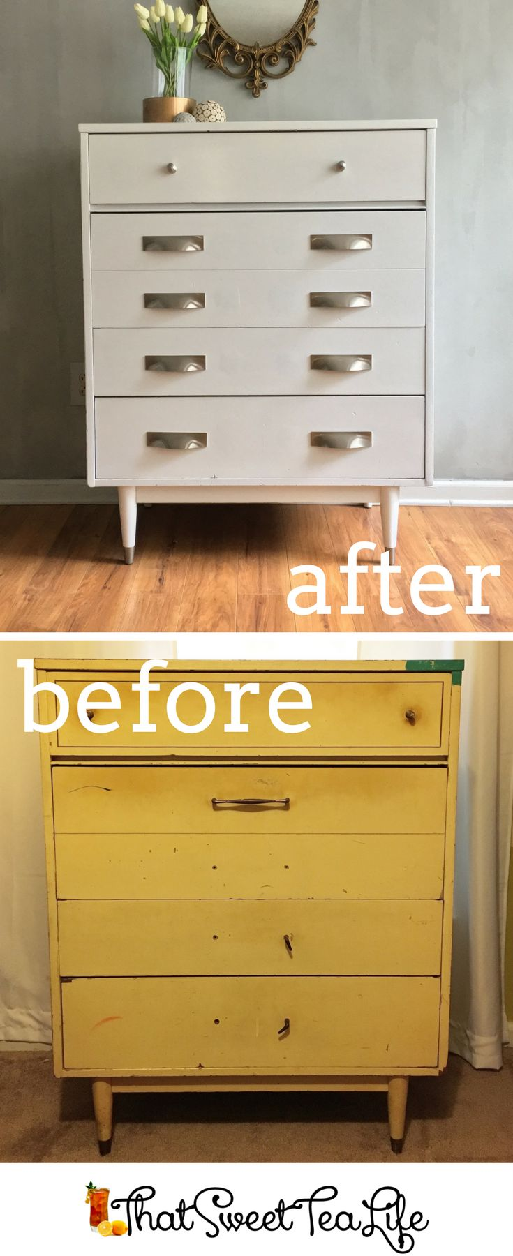 Beautiful Girls Bedroom Dresser Makeover | Mid Century Modern Dresser Makeover with a Modern Finish by That Sweet Tea Life | Furniture Makeover | How to Change Furniture Hardware | How to Paint Furniture | Furniture Painting Tips | Hardware for Dresser |Hardware for Drawers | Furniture Before and After | Painted Furniture Ideas | Drawer Pulls