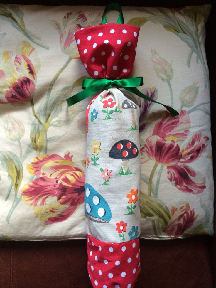 Carrier bag holder that I made from Cath Kidston mushroom fabric.x