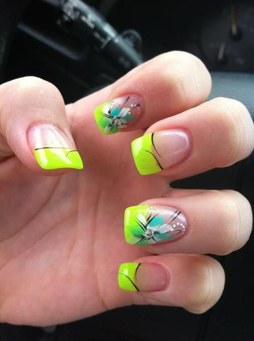 : Neon Flowers, Nails Design, Beautiful Nails, Neon Green, Nice Nails, Flowers Nails, Neon Nails Tips, Neon Tips, Nails 3