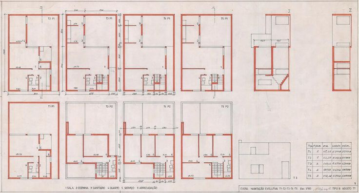 Type B house plan variations with ground floor plans ranged along the upper band and corresponding first floor plans below