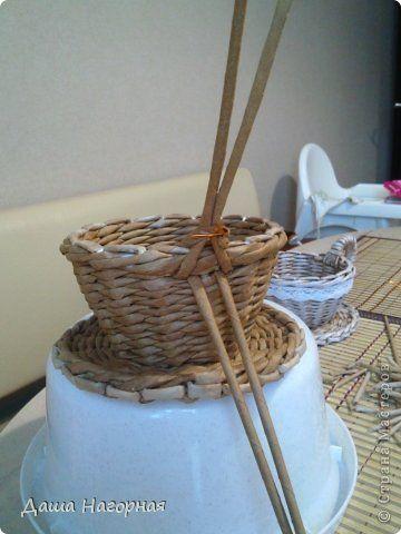 Мастер-класс Поделка изделие Плетение МК чашки Бумага газетная Трубочки бумажные фото 24