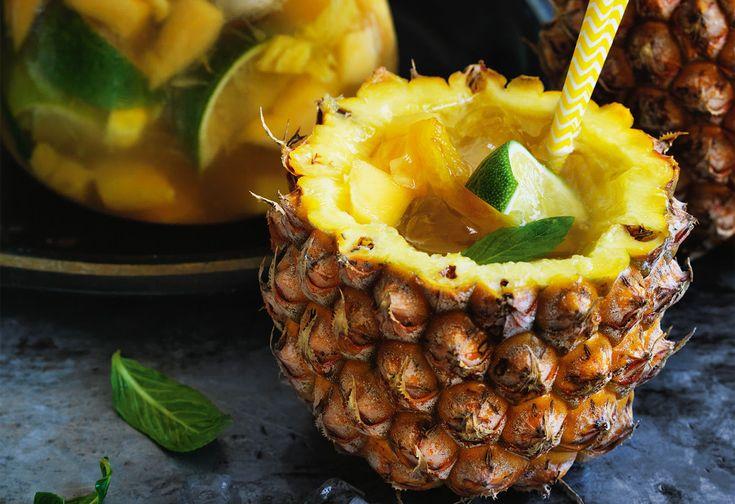 Ananas-Bowle mit Mango, Litschis und Ingwer