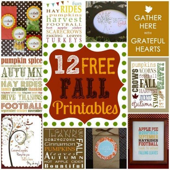 12 Free Fall ~~ Printables
