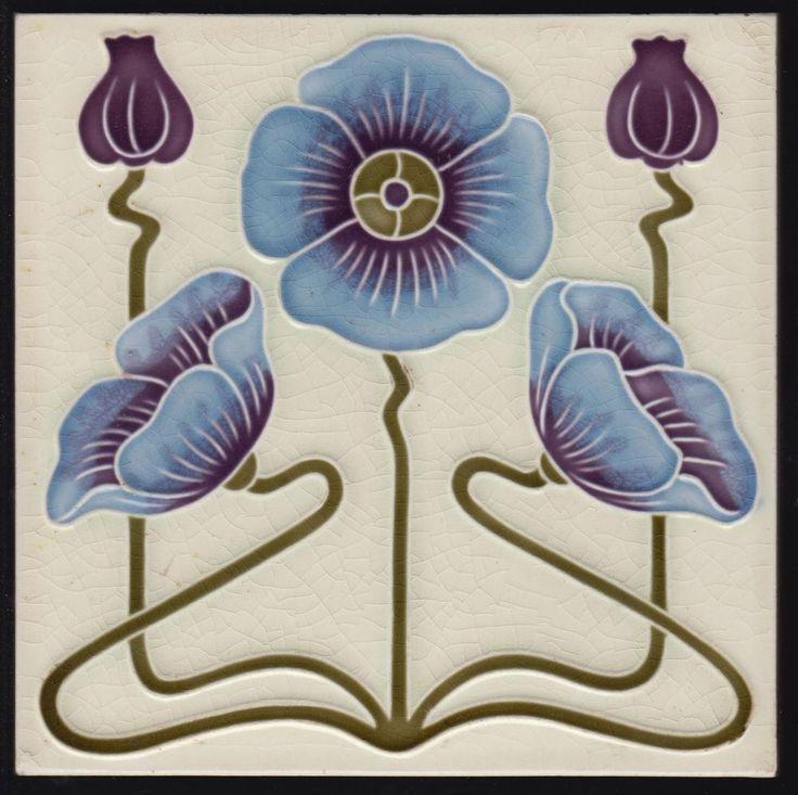 Jugendstil Fliese Blume DT-AG Art Nouveau tile C1900 Deutschland