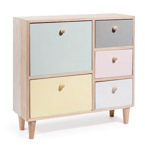 Boîte 5 tiroirs en bois multicolore H 31 cm PASTEL COLORS 29.99 euros maisons du monde