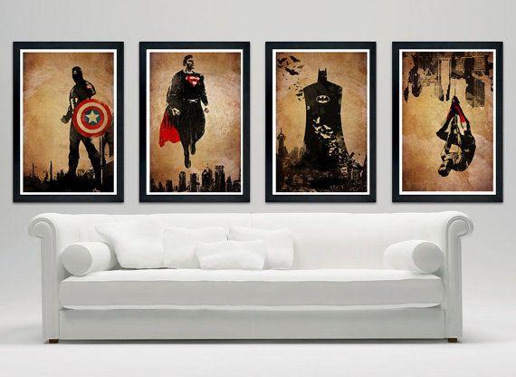 "Superheroes minimalistic poster set 12""x18"" captain america, superman, batman, spiderman on Etsy, $49.00"