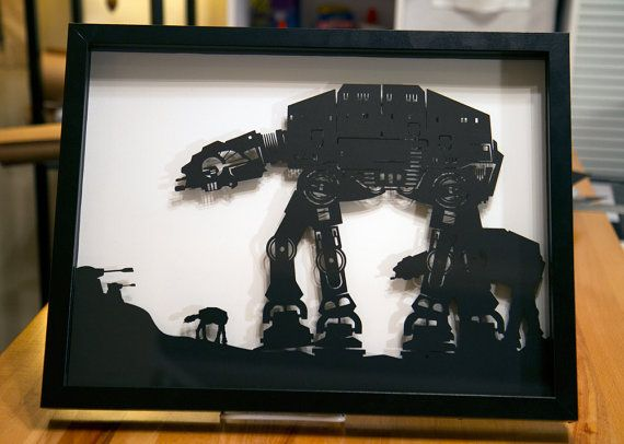 AT-AT Walker on Hoth - Star Wars silhouette handcut paper craft from one black sheet  SIZE: 12x16 ****NOW AVAILABLE FRAMED or UNFRAMED****  *FRAMED -