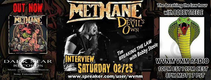Methane lead singer Tim Scott with Bobby Steele inside the metal teepee with a memorable interview.  Plus all thrash episode for your appetite of metal!! /m\ https://www.spreaker.com/user/wvnm/breaking-the-law-hour-w-methane-bobby-st