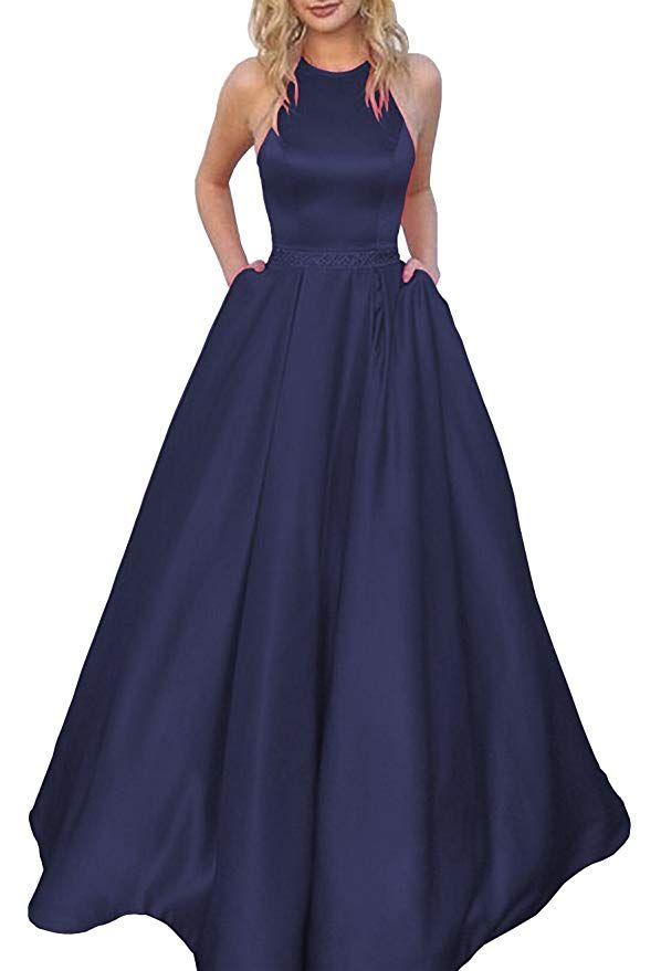 d086a5bb4d9 Women s Halter A-line Beaded Satin Formal Evening Prom Dress Ball Gown Long  with Pockets Size 14 Navy Blue