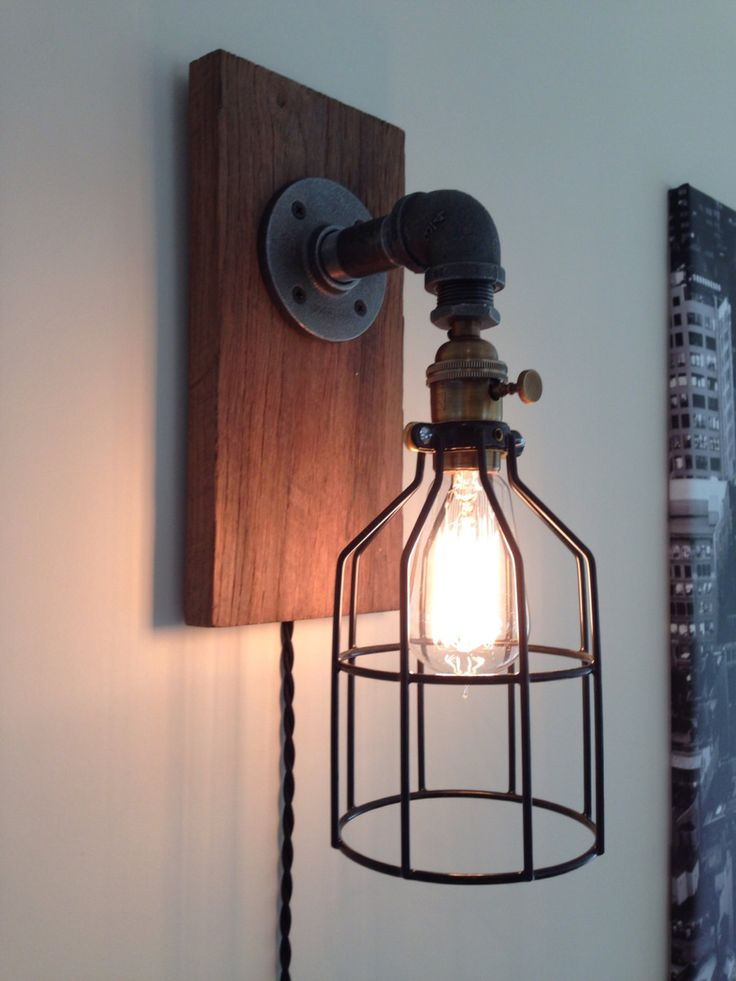 Steampunk Industrial Barn Wood pipe Lamp Sconce by TheVintageBulb, $85.00