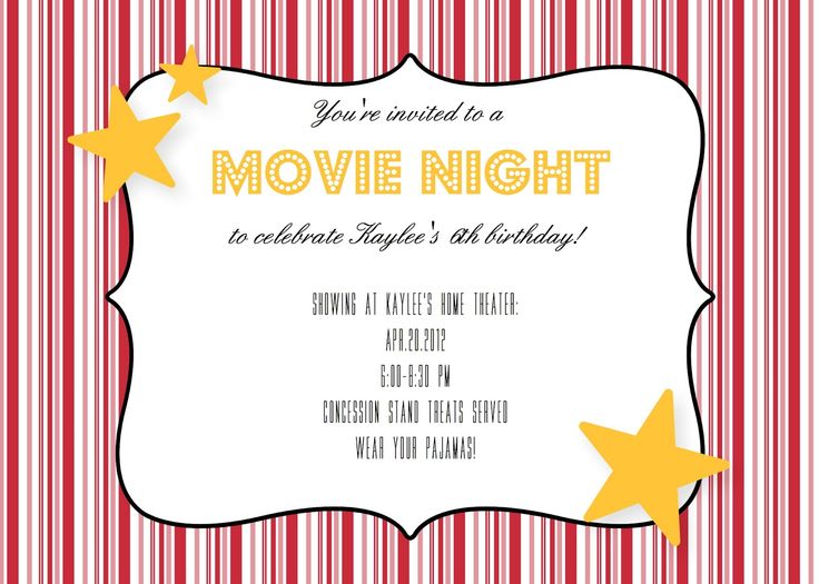 367 best images about Party Ideas – Movie Night Invitations Free Printable