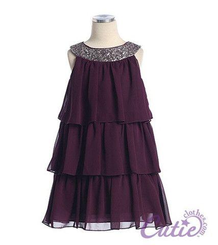Plum Flower Girl Dress - 3707