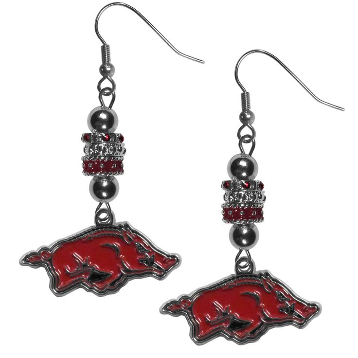 """Checkout our #LicensedGear products FREE SHIPPING + 10% OFF Coupon Code """"Official"""" Arkansas Razorbacks Euro Bead Earrings - Officially licensed College product 3 euro style beads Hypoallergenic fishhook posts Stylish enough for everyday Perfect accessory for a Arkansas Razorbacks fan - Price: $19.00. Buy now at https://officiallylicensedgear.com/arkansas-razorbacks-euro-bead-earrings-cebe12"""