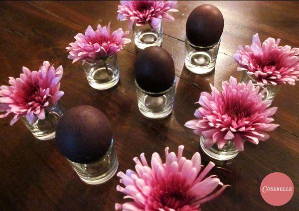 Diy - Preparazione Centrotavola di Pasqua: Uova nere e Margherite Rosa