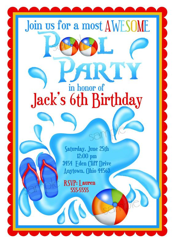 Best Pool Party Invites Images On   Invites Pool
