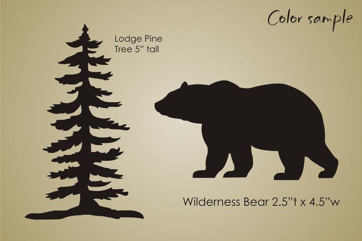 Stencil Rustic Mountain Lodge Pine Tree Bear Wilderness Cabin Decor Sign U Paint | eBay