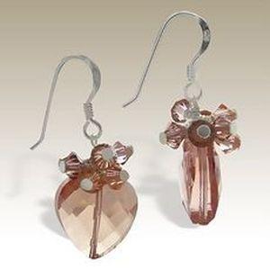 Handmade heart drop hook Earrings - Sterling Silver & Austrian Crystal Beads peach. VALENTINES DAY.