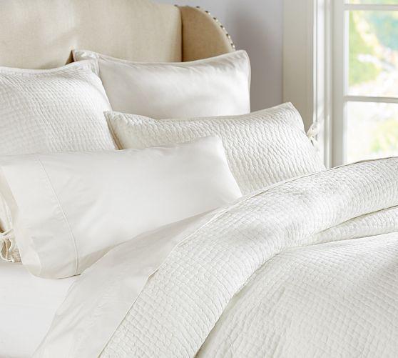 Pick-Stitch Quilt & Sham   Pottery Barn quilt/coverlet in white KING-SIZE + pair of white shams or white pillowcases