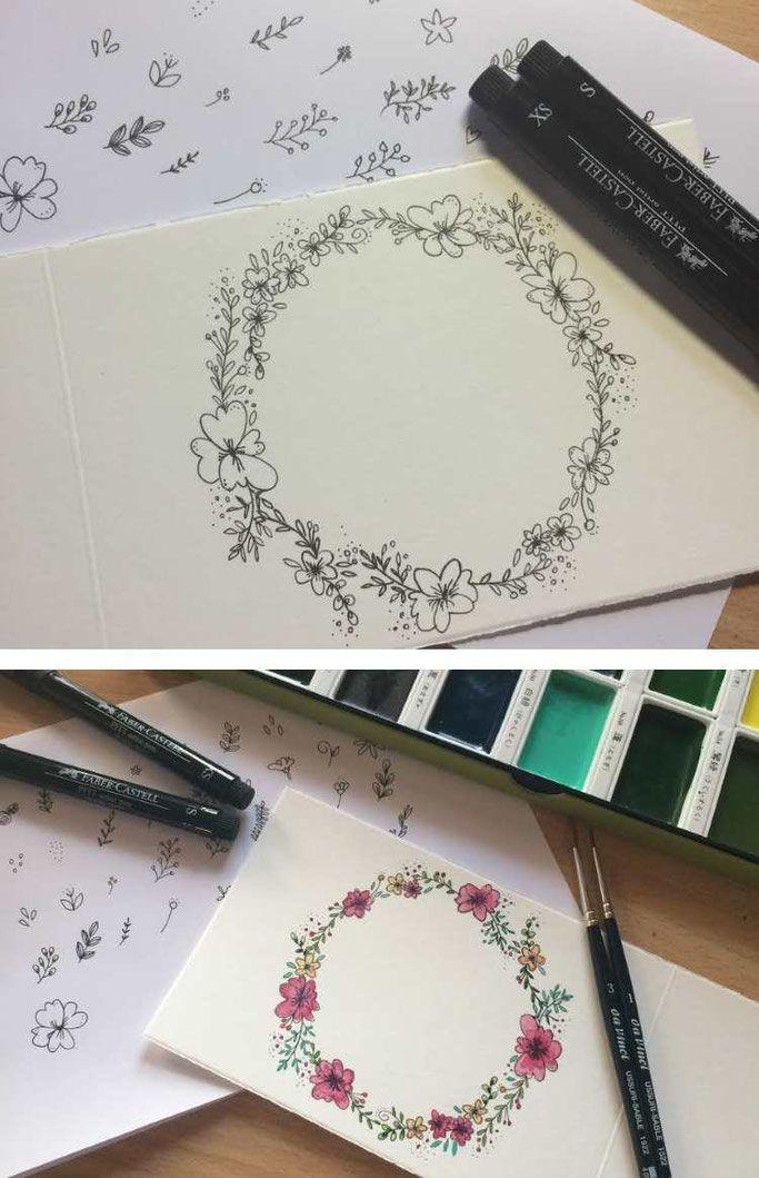 Blumenkränze - eine einfache Handlettering Anleitung