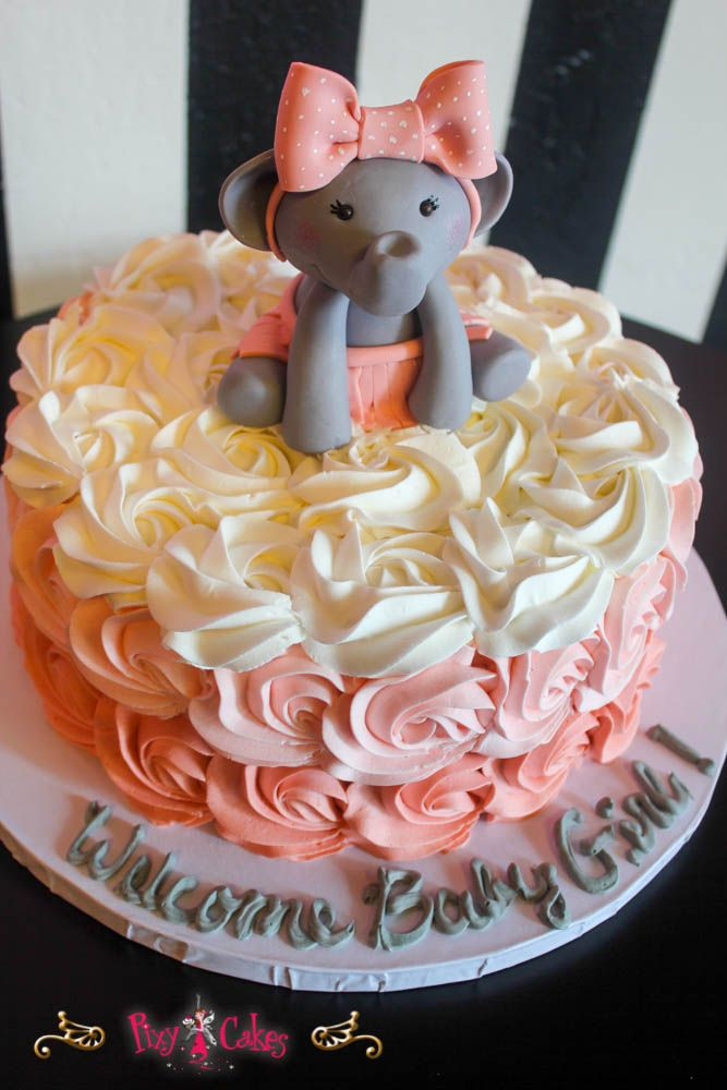 Pixy Cakes Baby Shower Cake Buttercream Swirl Girl  Tier Elephant Vwpgu