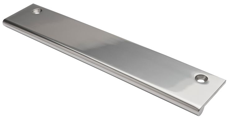 EDGE PULL polished nickel finish.  Solid Brass edge pulls for use on drawers and various door types. Simple modern design that will compliment any style of furniture. Ref. 0012 suitable for 18mm thick profiles, Ref. 0039 suitable for 44mm+ thick profiles.  Various finishes including standard and PVD.