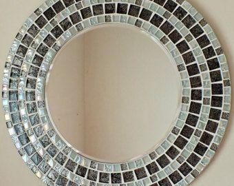 Mosaico hecho a mano hermoso espejo biselado borde blanco plata Azulejo mosaico de vidrio
