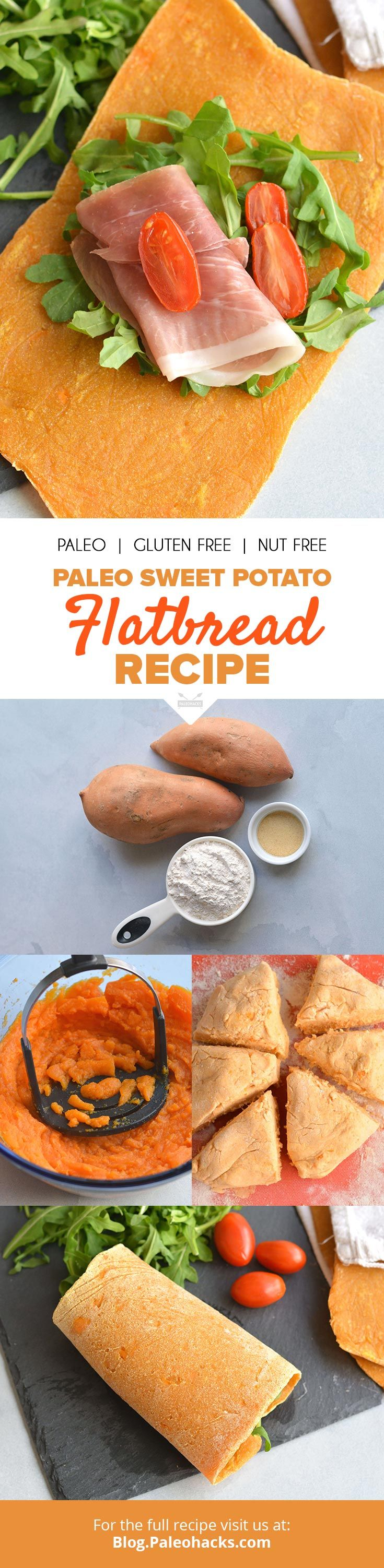 This 4-ingredient sweet potato flatbread is nut-free, dairy-free, and gluten-free for an allergy-friendly recipe. Roll it up,  dip it into hummus or pile it high with your favorite pizza toppings! Get the full recipe here: http://paleo.co/SWPflatbread