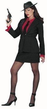 This is a great plus sized gangster halloween costume for women that would look perfect on Halloween night 2016.  Adult Gangster Lady Halloween Costume (Size: Medium/Large 8-14)