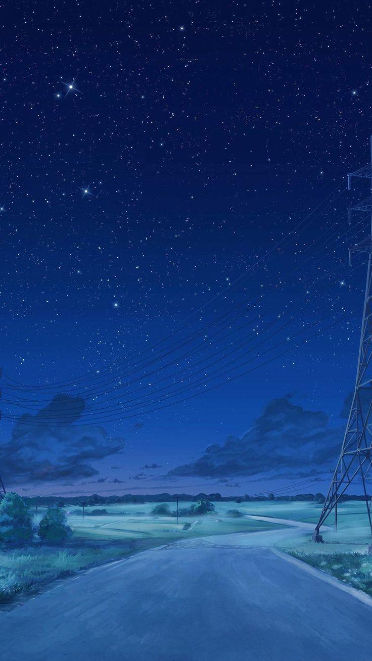 Arseniy Chebynkin Night Sky Star Blue Illustration Art Anime