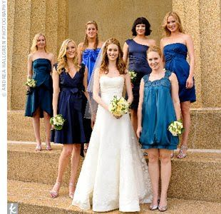 Bridesmaid Dress Inspiration Satin Fabric Same Hem Lines Different Necklines